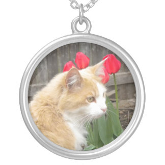 Kitty N Tulips Silver Plated Necklace