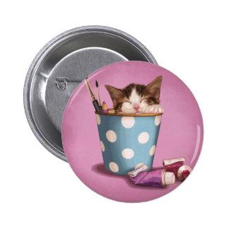 Kitty Nap 2 Inch Round Button