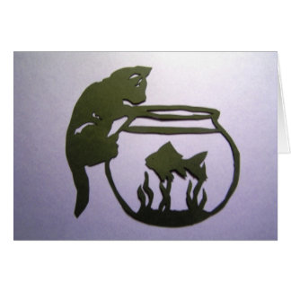 Kitty on fish bowl greeting card