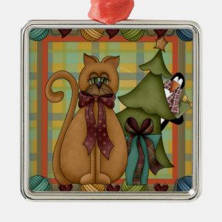 Kitty on Plaid Square Premium Ornament