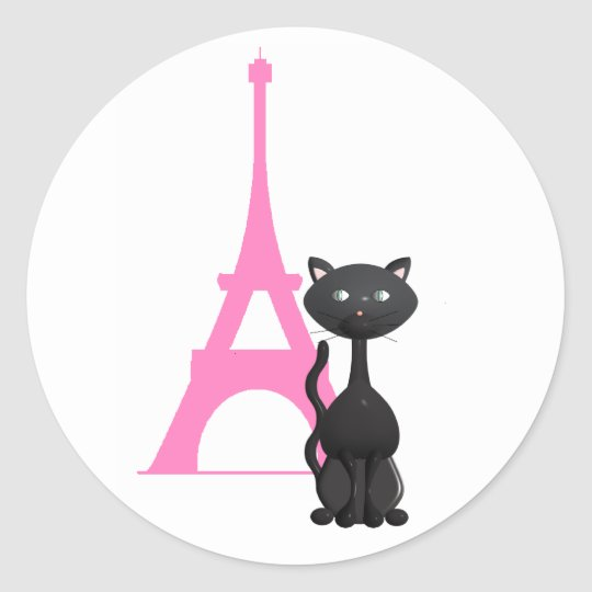 Kitty on Vacation in Paris Classic Round Sticker