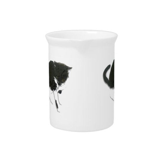 Kitty Painting Black and White Cat Beverage Pitcher