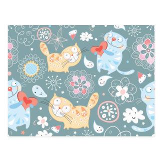 Kitty Pattern Three Postcard