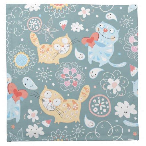 Kitty Pattern Three Printed Napkins