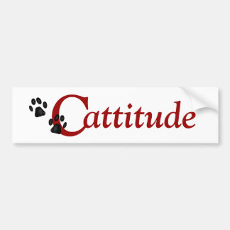 Kitty Paws Cattitude Bumper Sticker Car Bumper Sticker