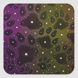 Kitty Paws Shining Stars Square Sticker