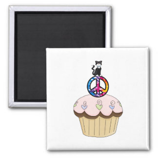 Kitty Peace Cupcake Magnet