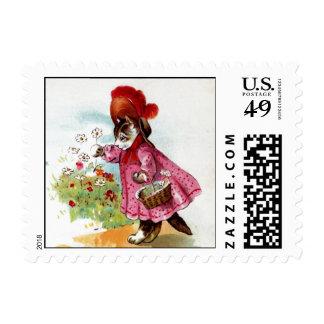 Kitty Picking Flowers Postage Stamp