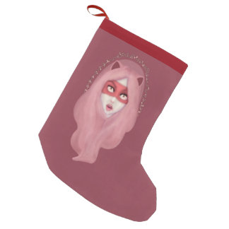 kitty.pink.power small christmas stocking