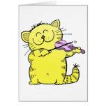 Kitty Play Violin Greeting Card