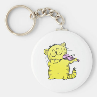 Kitty Play Violin Keychain