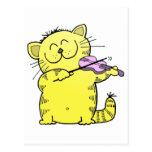 Kitty Play Violin Post Card