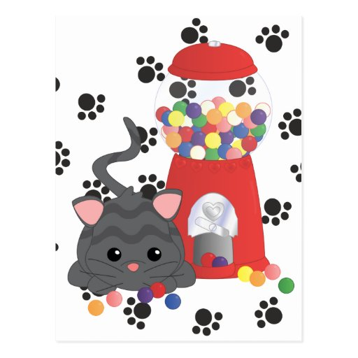 Kitty Playing with Gumballs Postcard