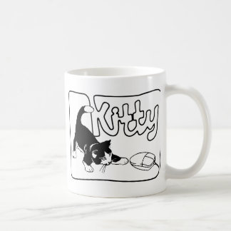 KITTY PLAYING WITH KNITTING COMPUTER MOUSE CLASSIC WHITE COFFEE MUG
