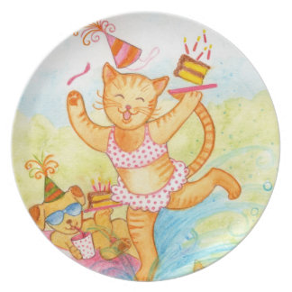 Kitty Pool Party Melamine Plate