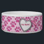 "Kitty Prints Pink Cat Dish - Customize<br><div class=""desc"">Sweet cat paw prints design in pink tones on pastel pink background. Heart Banner with ribbon accent makes a delightful name plate. Text area is ready for you to customize with your cat&#39;s name.</div>"