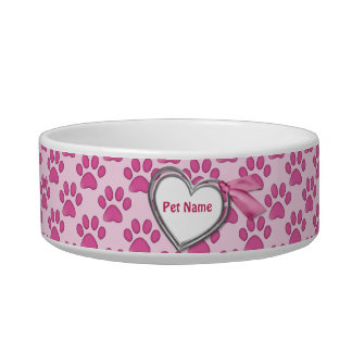 Kitty Prints Pink Cat Dish - Customize Cat Water Bowls