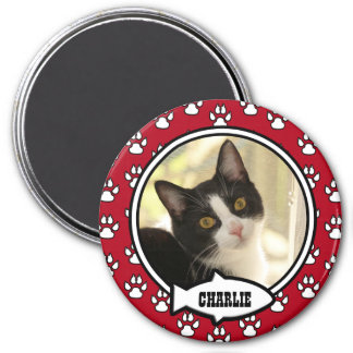 Kitty Prints Red Pet Photo Magnet