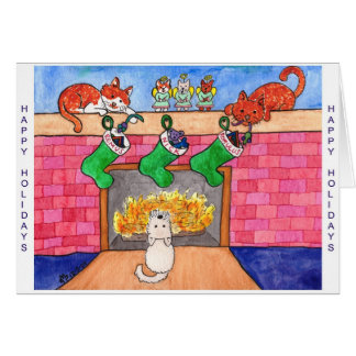 Kitty & Puppy Christmas Greeting Card