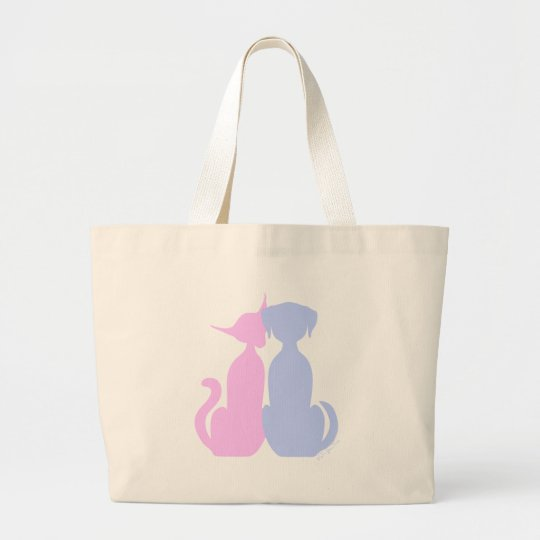 Kitty Puppy Love Large Tote Bag