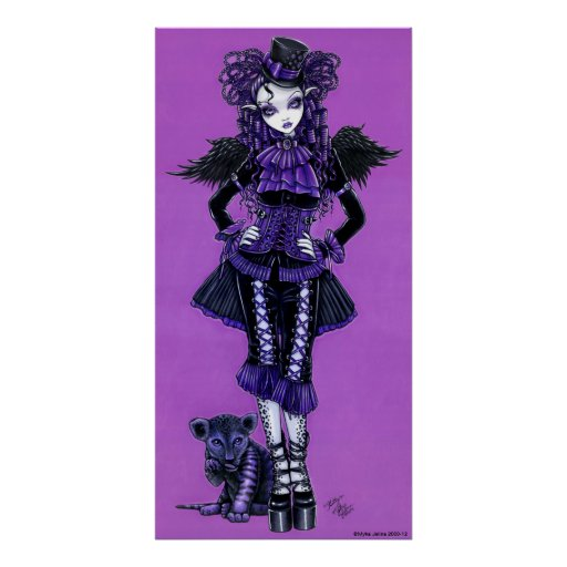 Kitty Purple Gothic Victorian Angel Poster