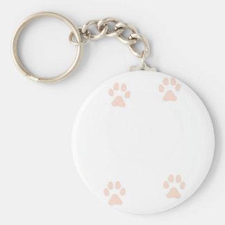 Kitty Pussy Cat Paw Prints Basic Round Button Keychain