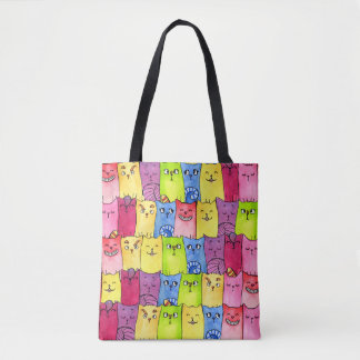 Kitty Rainbow In A Row Tote Bag