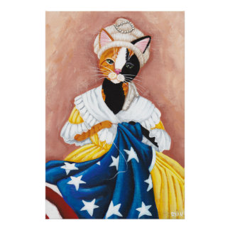 Kitty Ross and the American Flag Poster