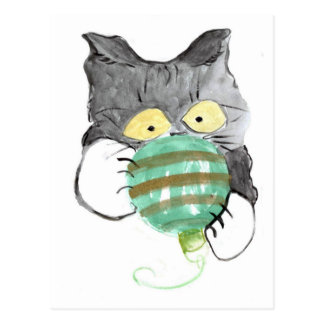 Kitty s Rolly Polly Christmas Ornament Postcard