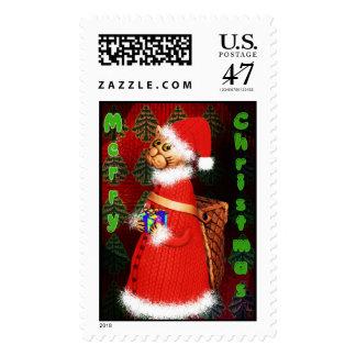 Kitty Santa stamp
