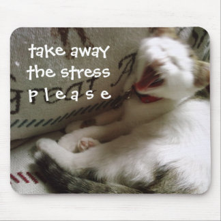 """KITTY SAYS """"TAKE AWAY THE STRESS PLEASE"""" MOUSE PAD"""