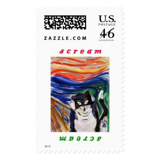 Kitty Scream Postage Stamp with Scream Text