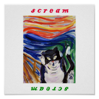 Kitty Scream with Scream Text Poster