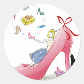 Kitty Shoe Lady Classic Round Sticker