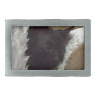 kitty sleep rectangular belt buckle