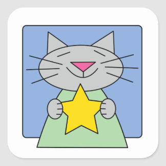 Kitty Star Square Sticker