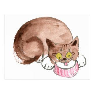 Kitty Sue Z is Thirsty, Yum... Cream Postcard