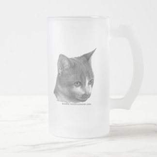 Kitty, Tabby Cat Frosted Glass Beer Mug