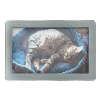 Kitty Takes a Nap, Tabby Tiger Cat Sleeping Belt Buckle