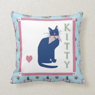 Kitty Tea Throw Pillows