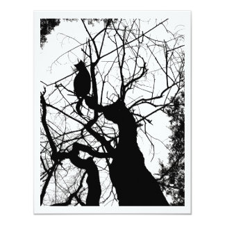 KITTY TREE SILHOUETTE B&W CARD