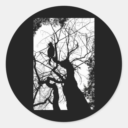 KITTY TREE SILHOUETTE B&W CLASSIC ROUND STICKER