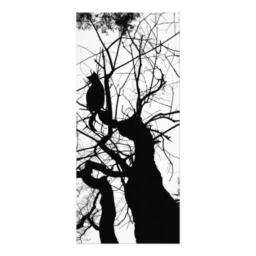 KITTY TREE SILHOUETTE B&W FULL COLOR RACK CARD