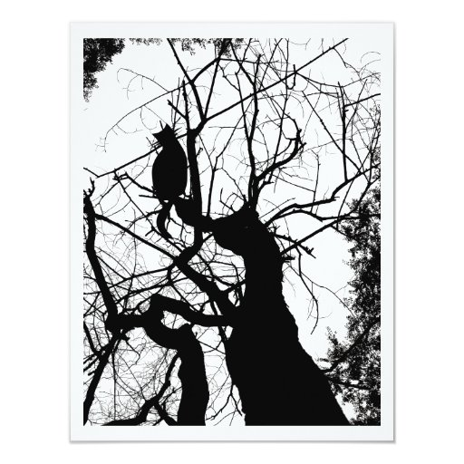 KITTY TREE SILHOUETTE B&W INVITE