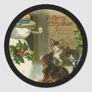 Kitty Trio and Snowman Classic Round Sticker