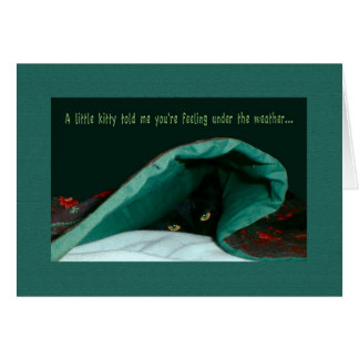 Kitty Under the Covers Get Well Greeting Card