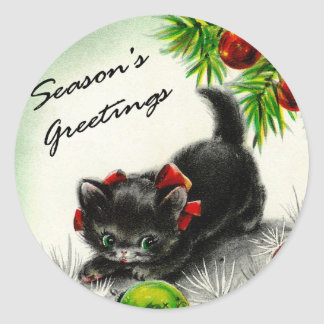 Kitty Under the Tree Classic Round Sticker