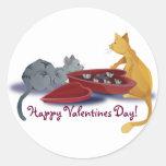 Kitty Valentines Round Stickers