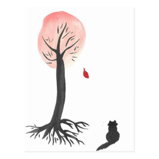 Kitty Watches the Falling Leaf Postcard