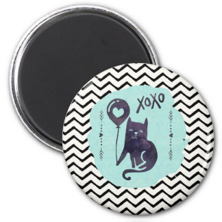 Kitty Watercolor Black Cat and Balloon Magnet
